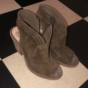 Open toed mule style in army greenish brown